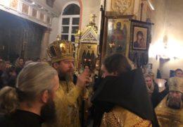 29 октября 2018 года, накануне дня памяти прав. Лазаря Четверодневного, митрополит Псковский и Порховский Тихон возглавил вечернее богослужения в Свято-Успенском Псково-Печерском монастыре.