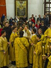 Вечером 20 октября 2018 года, накануне Недели 21-й по Пятидесятнице, митрополит Псковский и Порховский Тихон возглавил Всенощное бдение в Свято-Троицком кафедральном соборе города Пскова.