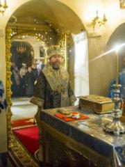 24 октября 2018 года, в день памяти апостола Филиппа и трехлетие своей Архиерейской хиротонии, митрополит Псковский и Порховский Тихон совершил Божественную Литургию в Успенском соборе Псково-Печерского монастыря.