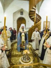 Вечером 18 января 2019 года, накануне праздника Крещения Господня, митрополит Псковский и Порховский Тихон совершил Всенощное бдение в храме Богоявления Господня (с Запсковья) города Пскова.