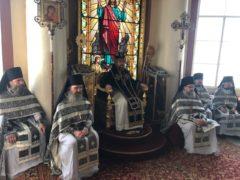 23 апреля 2019 года, в Великий вторник, митрополит Псковский и Порховский Тихон совершил Божественную Литургию Преждеосвященных Даров в Свято-Успенском Псково-Печерском монастыре.